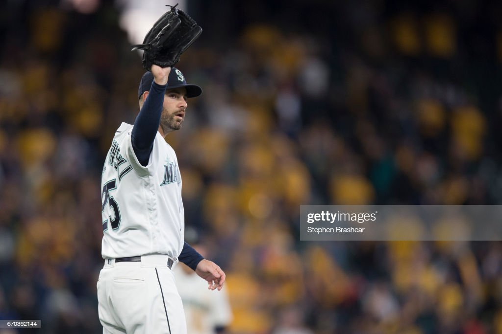 Relief pitcher Marc Rzepczynski #25 of the Seattle Mariners gestures to first base after the final out of the game against the Miami Marlins at Safeco Field on April 19, 2017 in Seattle, Washington. The Mariners won 10-5.