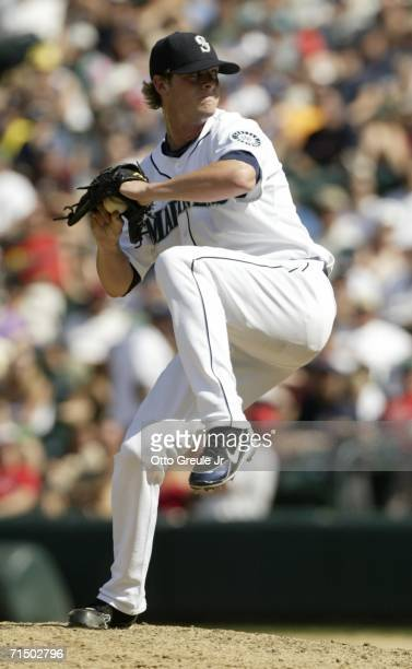 Relief pitcher Mark Lowe of the Seattle Mariners pitches in the 8th inning against the Boston Red Sox on July 22 2006 at Safeco Field in Seattle...