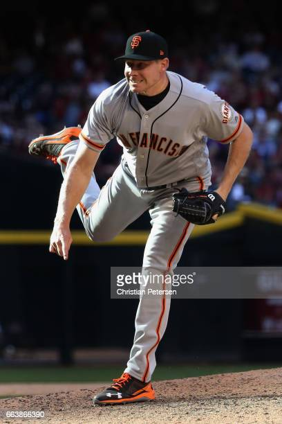 Relief pitcher Mark Melancon of the San Francisco Giants pitches against the Arizona Diamondbacks during the ninth inning of the MLB opening day game...