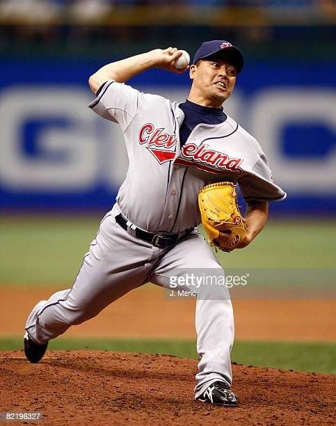 Relief pitcher Masahide Kobayashi of the Cleveland Indians pitches against the Tampa Bay Rays during the game on August 6 2008 at Tropicana Field in...
