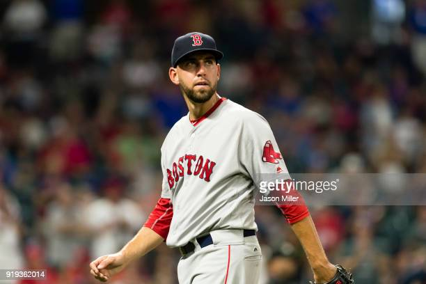 Relief pitcher Matt Barnes of the Boston Red Sox leaves the field during the eighth inning against the Cleveland Indians at Progressive Field on...
