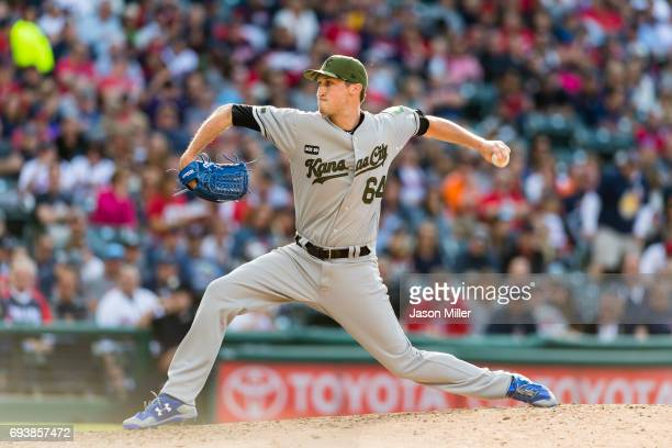 Relief pitcher Matt Strahm of the Kansas City Royals pitches during the sixth inning against the Cleveland Indians at Progressive Field on May 27...