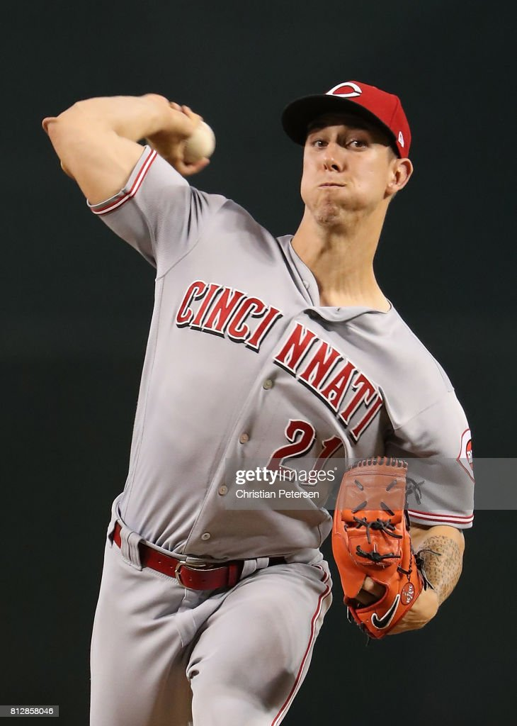 Relief pitcher Michael Lorenzen #21 of the Cincinnati Reds throws a warm up pitch during the MLB game against the Arizona Diamondbacks at Chase Field on July 9, 2017 in Phoenix, Arizona. The Reds defeated the Diamondbacks 2-1.