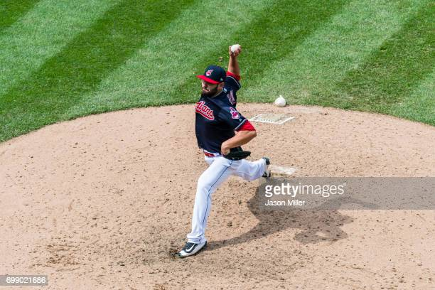 Relief pitcher Nick Goody of the Cleveland Indians pitches during the seventh inning against the Seattle Mariners at Progressive Field on April 30...