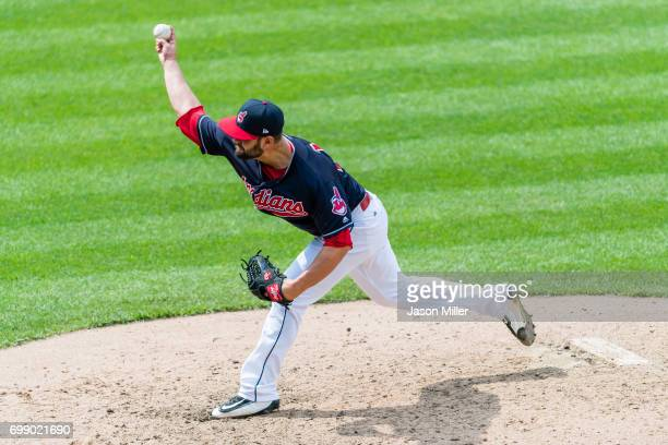 Relief pitcher Nick Goody of the Cleveland Indians pitches during the sixth inning against the Seattle Mariners at Progressive Field on April 30 2017...