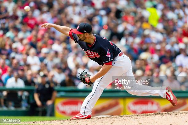 Relief pitcher Nick Goody of the Cleveland Indians pitches during the sixth inning against the Detroit Tigers at Progressive Field on September 13...