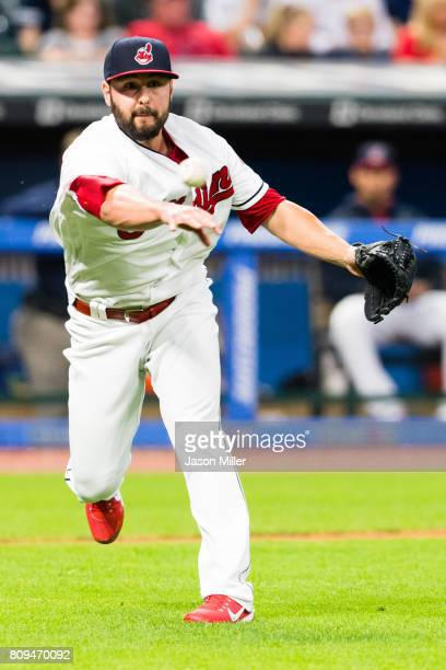 Relief pitcher Nick Goody of the Cleveland Indians throws out Luis Torrens of the San Diego Padres on a sacrifice bunt during the sixth inning at...