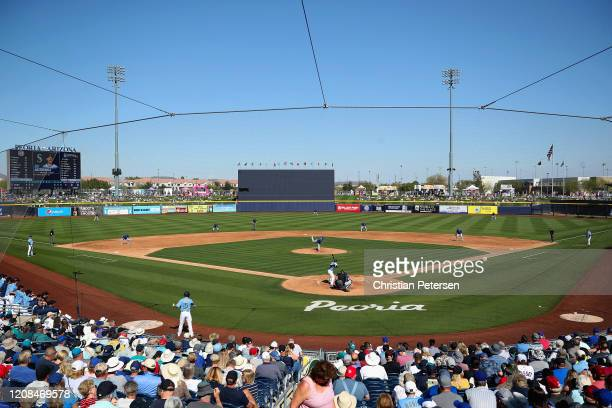 Relief pitcher Nick Margevicius of the Chicago Cubs pitches against Austin Nola of the Seattle Mariners during the third inning MLB spring training...
