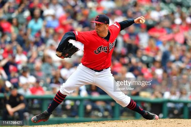 Relief pitcher Oliver Perez of the Cleveland Indians pitches during the eighth inning against the Toronto Blue Jays at Progressive Field on April 07...