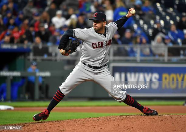 Relief pitcher Oliver Perez of the Cleveland Indians throws in the sixth inning against the Kansas City Royalsat Kauffman Stadium on April 13 2019 in...