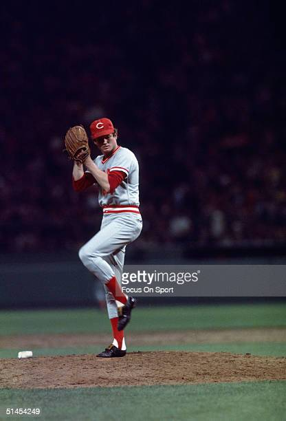 Relief pitcher Pat Darcy of the Cincinnati Reds pitches during Game 6 of the 1975 World Series against the Boston Red Sox on October 21 1975 at...