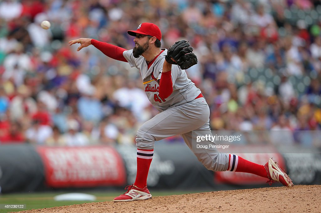 Relief pitcher Pat Neshek #41 of the St. Louis Cardinals delivers against the Colorado Rockies at Coors Field on June 25, 2014 in Denver, Colorado. Neshek earned the win as the Cardinals defeated the Rockies 9-6.