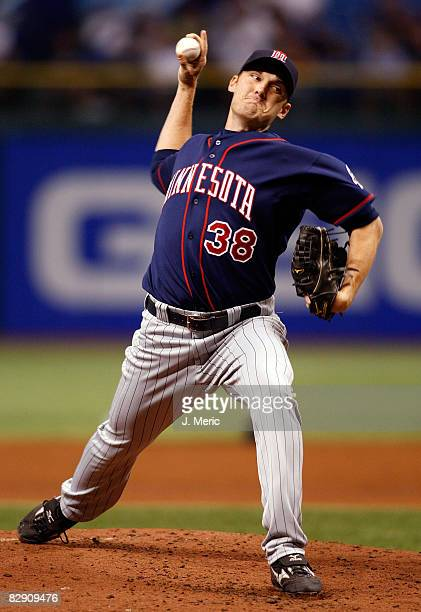 Relief pitcher Philip Humber of the Minnesota Twins pitches against the Tampa Bay Rays during the game on September 18 2008 at Tropicana Field in St...