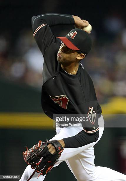Relief pitcher Randall Delgado of the Arizona Diamondbacks pitches against the New York Mets during the MLB game at Chase Field on April 15 2014 in...