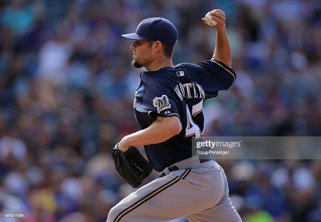Relief pitcher Rob Wooten #47 of the Milwaukee Brewers delivers against the Colorado Rockies at Coors Field on June 22, 2014 in Denver, Colorado. The Brewers defeated the Rockies 6-5.