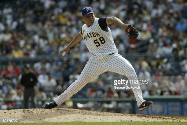Relief pitcher Romulo Sanchez of the Pittsburgh Pirates pitches against the St Louis Cardinals during a game at PNC Park on September 14 2008 in...