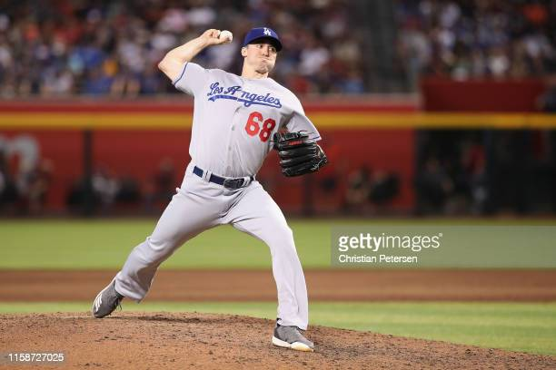 Relief pitcher Ross Stripling of the Los Angeles Dodgers pitches during the MLB game against the Arizona Diamondbacks at Chase Field on June 05, 2019...