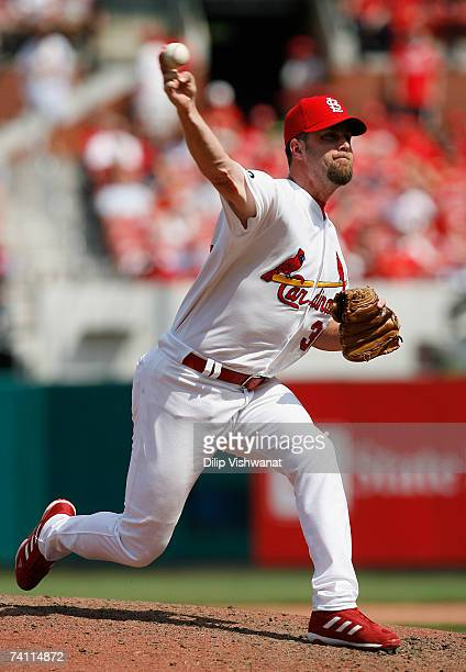 Relief pitcher Russ Springer of the St Louis Cardinals throws against the Colorado Rockies May 9 2007 at Busch Stadium in St Louis Missouri The...