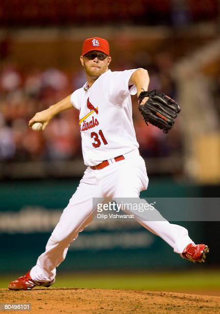 Relief pitcher Ryan Franklin of the St Louis Cardinals throws against the Colorado Rockies on April 2 2008 at Busch Stadium in St Louis Missouri