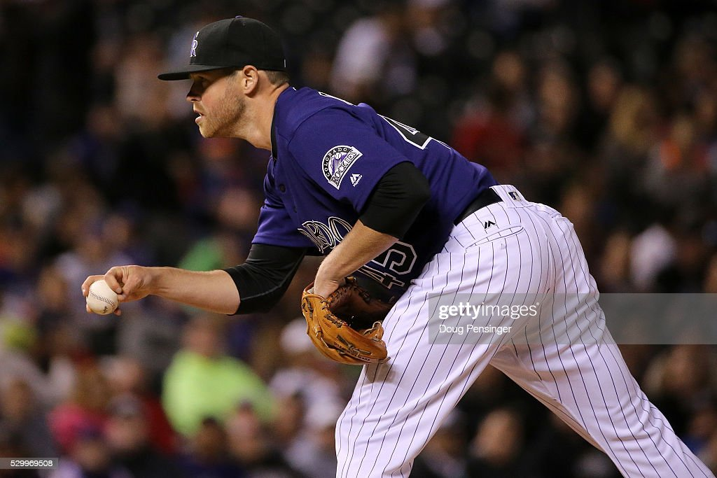 Relief pitcher Scott Oberg #45 of the Colorado Rockies delivers against the Arizona Diamondbacks at Coors Field on May 09, 2016 in Denver, Colorado. The Diamondbacks defeated the Rockies 10-5.