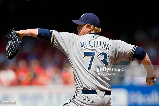 Relief pitcher Seth McClung of the Milwaukee Brewers throws against the St Louis Cardinals on April 17 2008 at Busch Stadium in St Louis Missouri The...