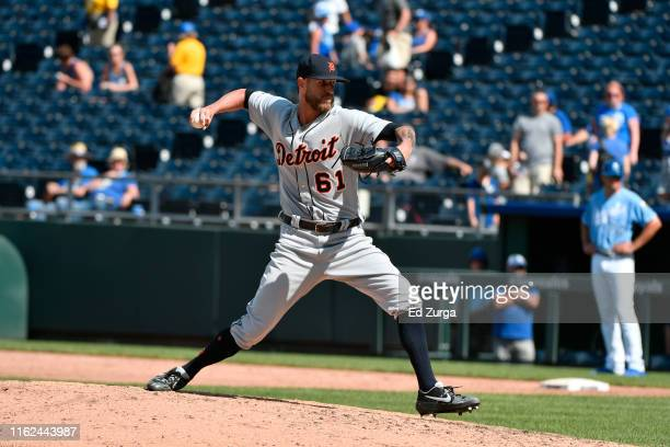 Relief pitcher Shane Greene of the Detroit Tigers throws against the Kansas City Royals at Kauffman Stadium on July 14 2019 in Kansas City Missouri