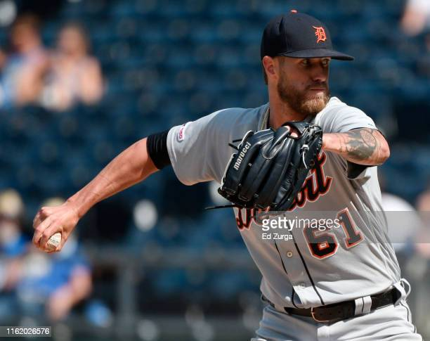 Relief pitcher Shane Greene of the Detroit Tigers throws in the ninth inning against the Kansas City Royals at Kauffman Stadium on July 14 2019 in...