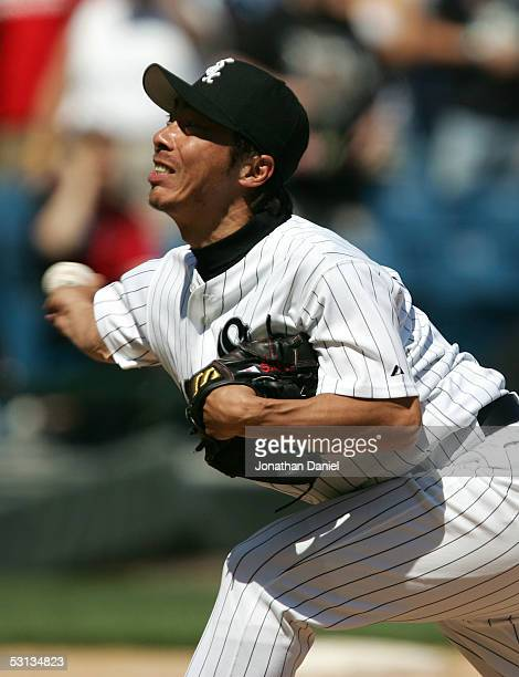 Relief pitcher Shingo Takatsu of the Chicago White Sox throws the ball in the bottom of the ninth inning against the Kansas City Royals on June 22...
