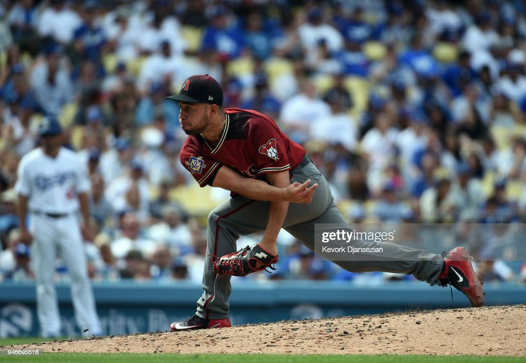 Relief pitcher Silvino Bracho #41 of the Arizona Diamondbacks throws against Los Angeles Dodgers at Dodger Stadium on April 15, 2018 in Los Angeles, California. All players are wearing #42 in honor of Jackie Robinson Day.
