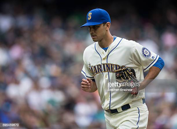 Relief pitcher Steve Cishek of the Seattle Mariners jogs off the field during a game against the Milwaukee Brewers at Safeco Field on August 21 2016...