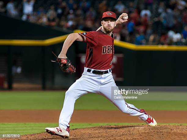 Relief pitcher Steve Hathaway of the Arizona Diamondbacks delivers a pitch in the seventh inning of the MLB game against the San Diego Padres at...