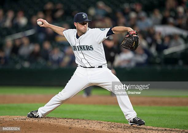 Relief pitcher Steve Johnson of the Seattle Mariners delivers a pitch during a game against the Cleveland Indians at Safeco Field on June 9 in...
