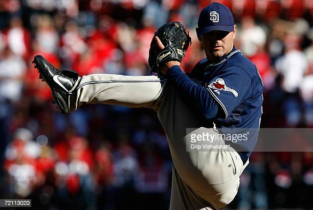 Relief pitcher Trevor Hoffman of the San Diego Padres pitches against the St. Louis Cardinals in Game Three of the National League Division Series at...