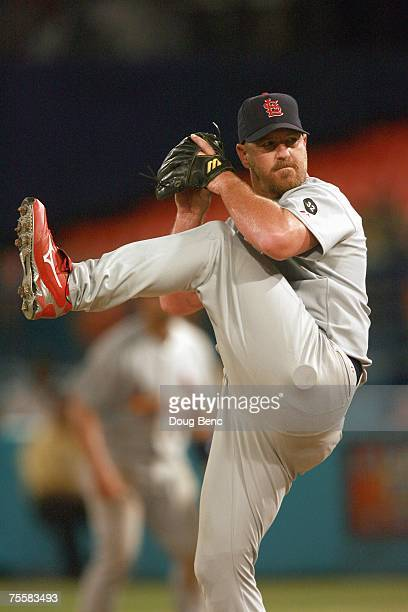 Relief pitcher Troy Percival of the St Louis Cardinals pitches against the Florida Marlins at Dolphin Stadium on July 18 2007 in Miami Florida