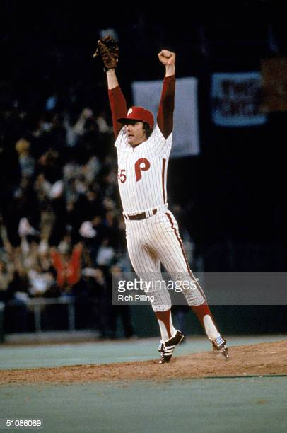 Relief pitcher Tug McGraw of the Philadelphia Phillies celebrates after the final out in game six winning the 1980 World Series against the Kansas...