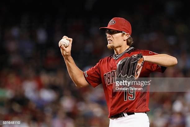 Relief pitcher Tyler Clippard of the Arizona Diamondbacks prepares to pitch against the San Francisco Giants during the seventh inning of the MLB...