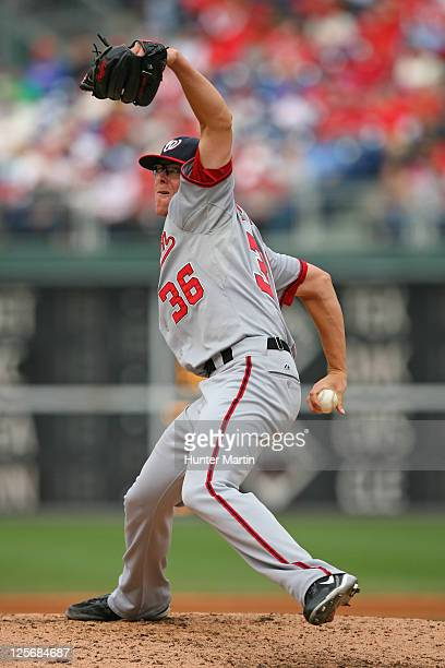 Relief pitcher Tyler Clippard of the Washington Nationals throws a pitch during a game against the Philadelphia Phillies at Citizens Bank Park on...