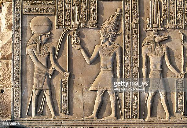 relief sculpture at kom ombo temple - egyptian god stock pictures, royalty-free photos & images