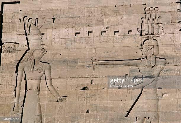 Relief Second Pylon Temple of Isis at Philae Agilkia Island Aswan Egypt Egyptian civilisation