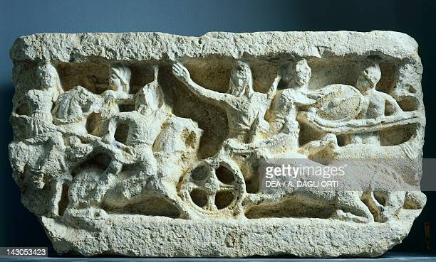Relief showing a battle scene between Alexander and Darius from Isernia Italy Roman civilization 2nd1st Century BC Isernia Museo Nazionale Di Santa...