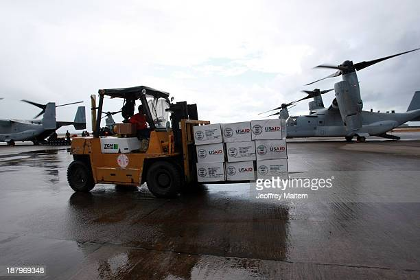 Relief supplies from US arrive at the airport in the aftermath of Typhoon Haiyan on November 14 2013 in Tacloban Leyte Philippines Typhoon Haiyan...
