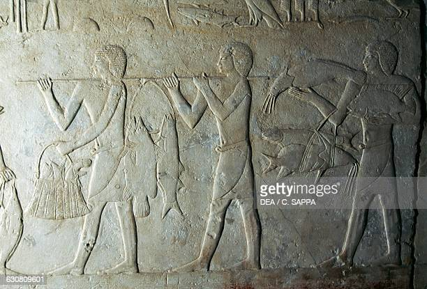 Relief with fish offering Mastaba of Kagemni 2340 BC Necropolis of Saqqara Memphis Egypt Egyptian civilisation Old Kingdom Dynasty VI
