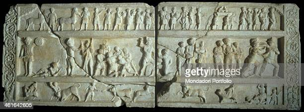 Relief with Gladiatorial Games in Pompeii 20 50 aC 1st Century marble Italy Campania Naples Archological National Museu Whole artwork view Relief...