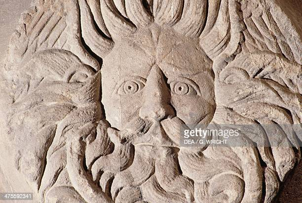 Relief with gorgon's head Temple of Sulis Minerva Roman Baths Somerset England United Kingdom Roman civilisation 1st century