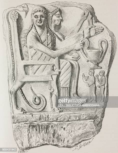 Relief with heroes and worshippers 6th century BC found in Chrysapha Greece illustration from Histoire des grecs volume 1 Formation du peuple grec by...