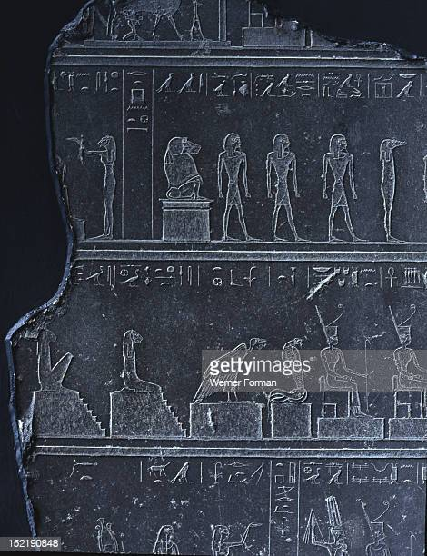 Relief with hieroglyphs and gods from the naos of Apries at Sais The naos and the city were described by Herodotus in his History Egypt Culture...