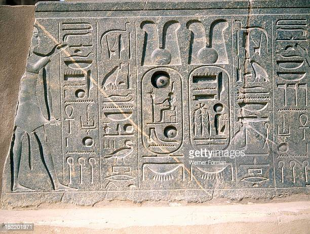 Relief with hieroglyphs and the cartouche of Ramesses II Egypt Ancient Egyptian 19th dynasty 1279 1212 BC Luxor