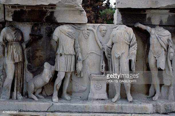 Relief with human figures theatre of Dionysus Acropolis Athens Greece Greek civilisation 5th century BC