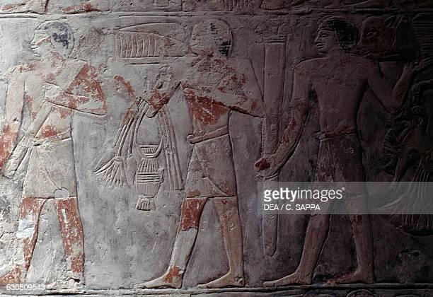 Relief with offerings bearers Mastaba of Mereruka 2340 BC Necropolis of Saqqara Memphis Egypt Egyptian civilisation Old Kingdom Dynasty VI