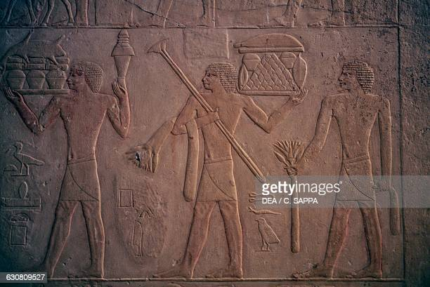 Relief with offerings bearers Mastaba of Ptahhotep 2400 BC Necropolis of Saqqara Memphis Egypt Egyptian civilisation Dynasty V